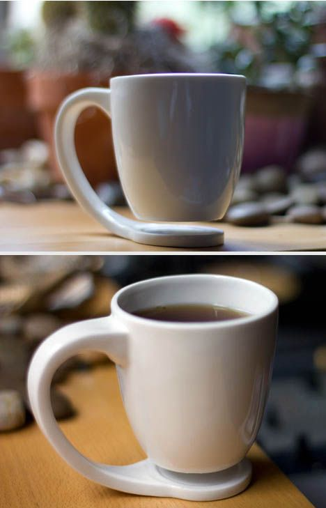 Cool suspended coffee cup concept; no need for coasters, cool clean design. :)    http://dornob.com/hover-mug-clever-coaster-free-floating-coffee-or-tea-cup/#
