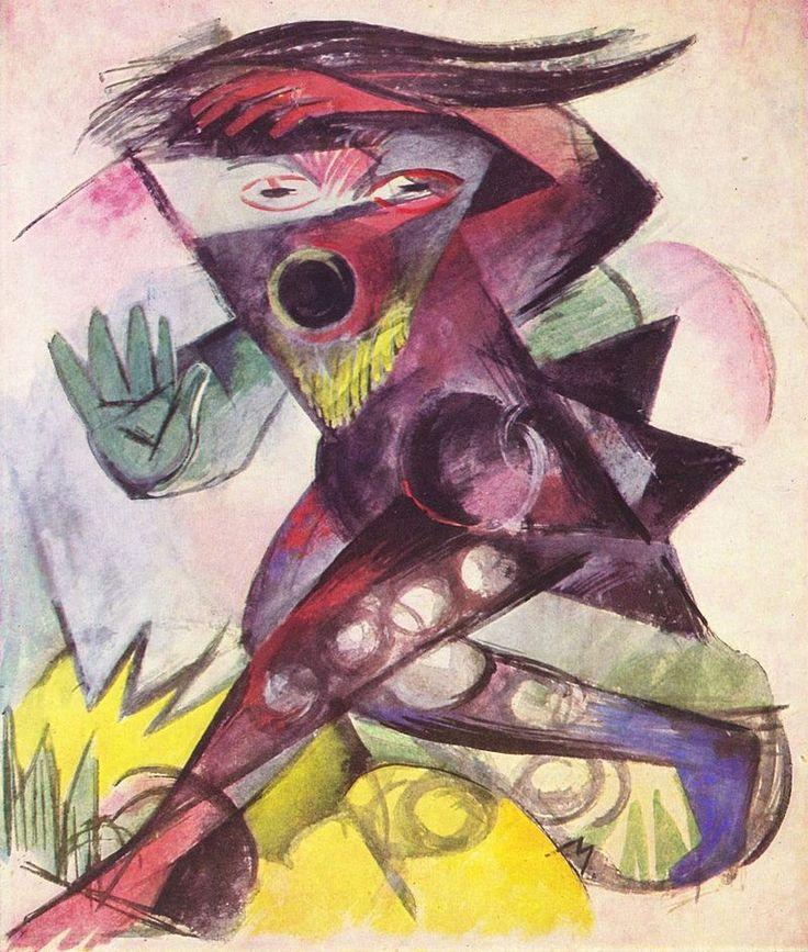 """Caliban, es unn personaje de """"La Tempestad"""" de la obra de Shakespeare del añol de 1914, de Franz Marc, Kunstmuseum,  en Basilea Zuisa"""