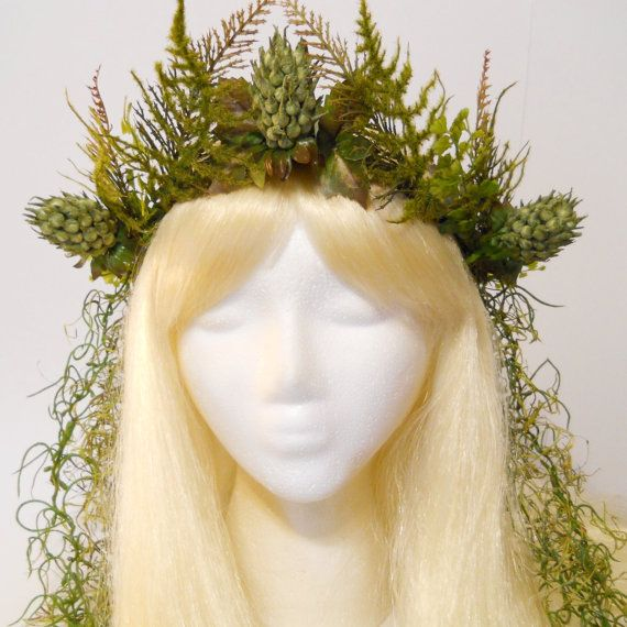 Fern Crown Moss Crown Queen King of the Forest Woodland Wedding Nymph Fairy Goddess Gaia Headdress Game of Thrones Burning Man Costume