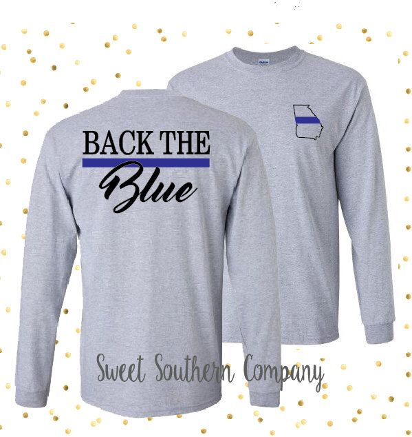 Personalized Back the Blue Tshirt or Long Sleeve Shirt - Support the Blue Line, Police Officer, Sheriff, Deputy by SweetSouthernCompany on Etsy https://www.etsy.com/listing/269652219/personalized-back-the-blue-tshirt-or