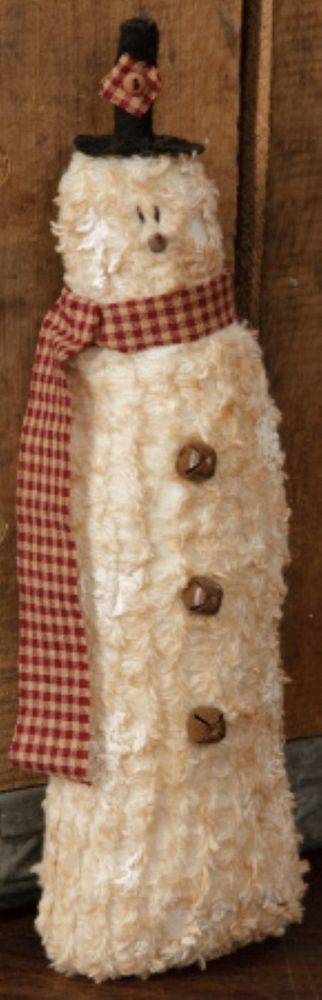 Country Primitive Chenille Snowman With Top Hat