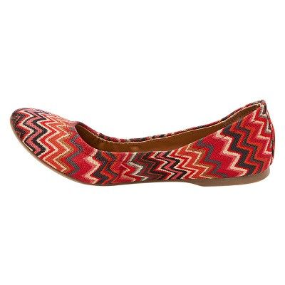Women's Ona Wide Width Round Toe Ballet Flats - Mossimo Supply Co. 9W Red, Size: 9 Wide, Multi-Colored