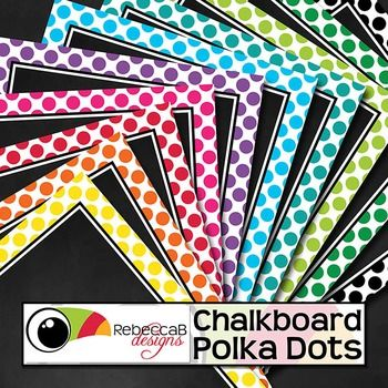 Chalkboard Polka Dots contains 20 polka dot framed, chalkboard backgrounds.  10 U.S. Letter size and 10 square size with 10 different colors.  Place text and clip art over the top to create fun product covers, worksheets, activities, posters and other teaching resources.
