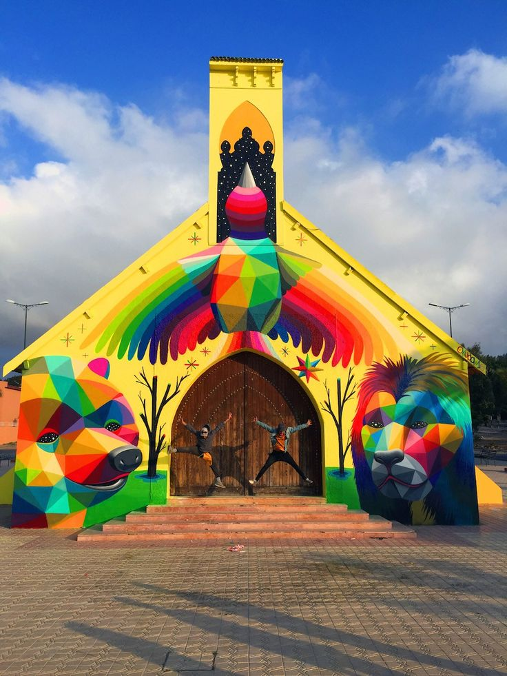 """After covering a church turned skatepark in Spain with his signature style of murals,Okuda San Miguelhas now transformed an abandoned Moroccan church into a 360-degree mural titled """"11 Mirages to…"""