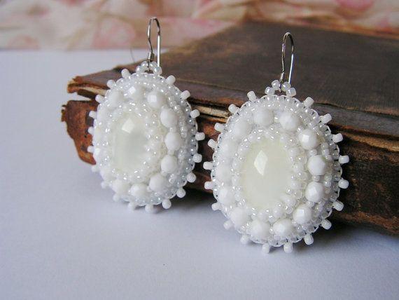 White Earrings Bead embroidery Earrings White by MisPearlBerry, $40.00