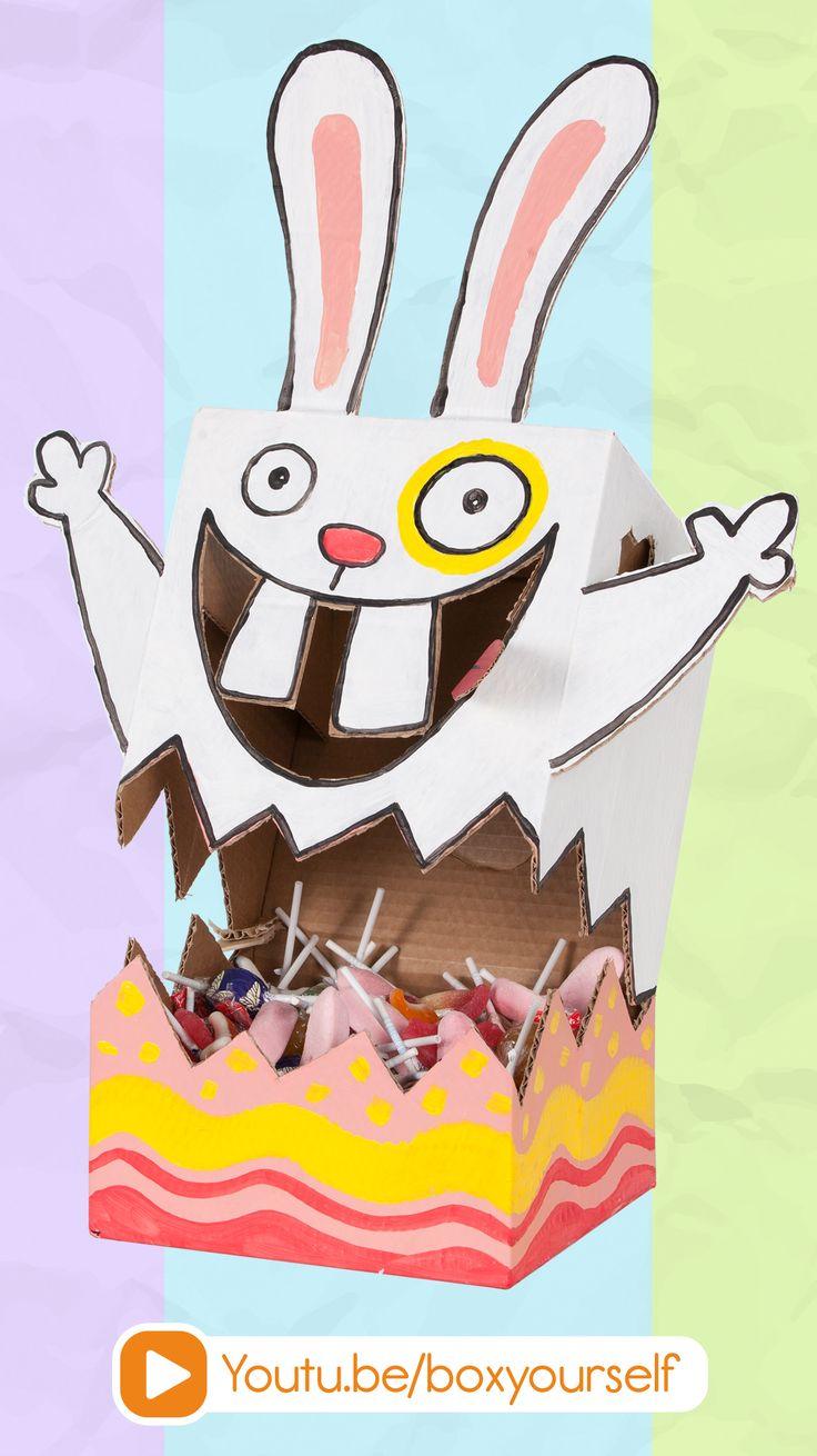 DIY Easter Bunny! https://www.youtube.com/watch?v=ZUKkyTLeHMQ #easter #crafts #kids #easterbunny #bunny #diy #art #candy #dispenser #egg #craft #crafts #box #boxyourself #cardboard #idea #projects #cute #pet #rabbit #holiday #ideas #handmade #decor #decoration #home #room #paint #holiday