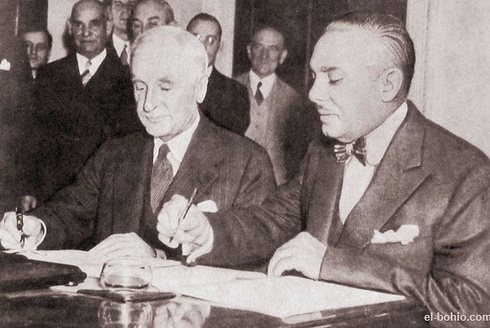 Hull and Trujillo signing the Good Neighbor Policy in Santo Domingo