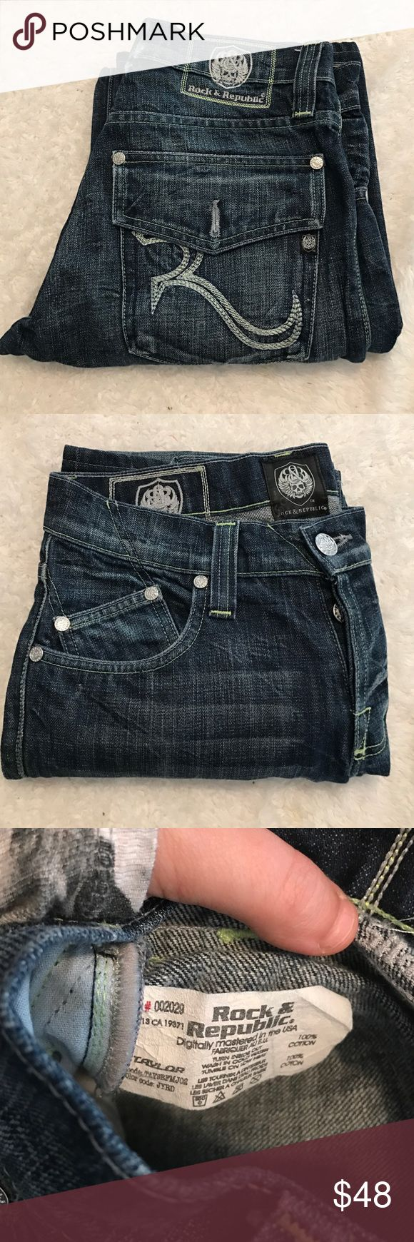 "Men's Rock n Republic Dark Wash ""Taylor"" jeans Great designer jeans by rock and Republic for your fashionable guy. Inseam measures approximately 30 inches Rock & Republic Jeans Bootcut"