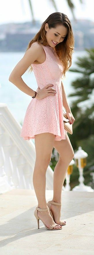 Pink Rosette Dress with Single Sole Ankle Strap Heels / Hapa Time