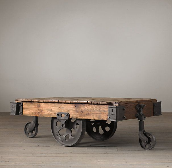 Furniture Factory Cart original fittings and wood restored 52 x 28 x 16 Restoration Hardware