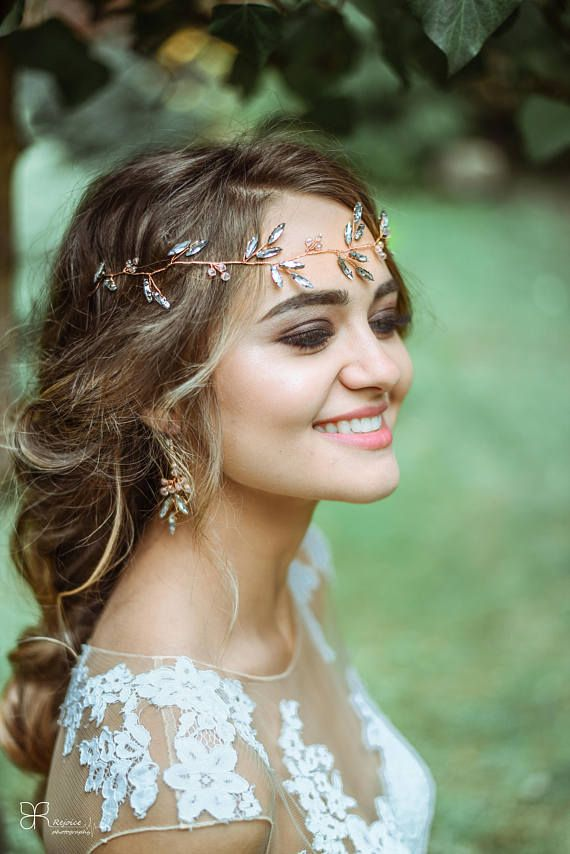 Bridal Hair accessory - Rose gold hairpiece - earrings set