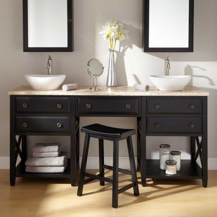 Image On Bathroom art deco black painted wooden bathroom vanity with double white vessel sinks Fascinating