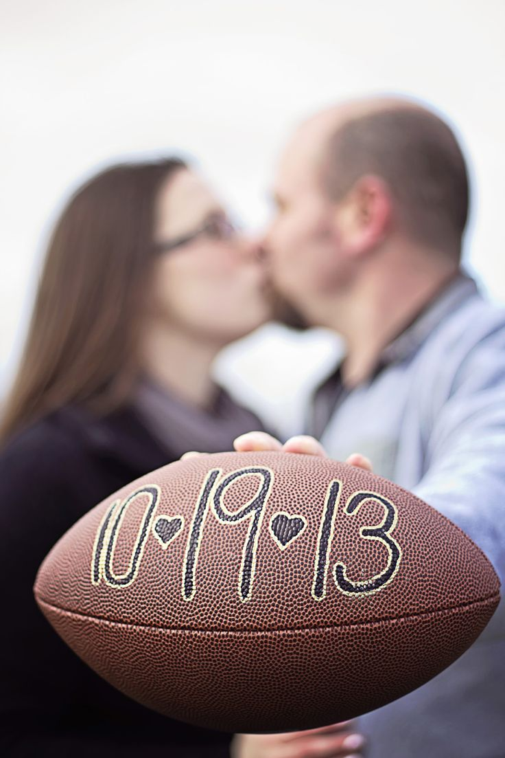 football theme engagement pictures, save the date, Misty Nolan photography