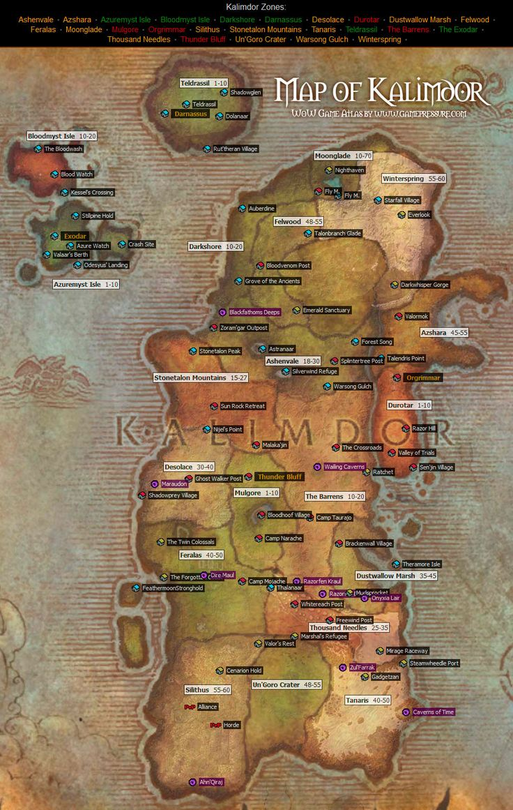Kalimdor Map from World of Warcraft from wow.gamepressure.com