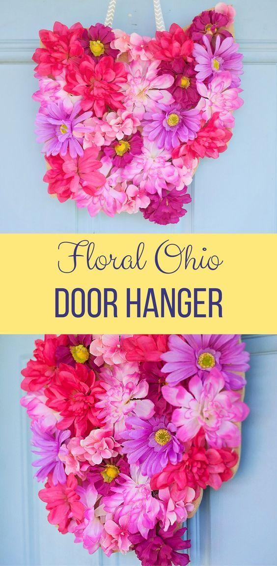 The Ultimate Pinterest Party, Week 147 Floral Ohio Door Hanger DIY