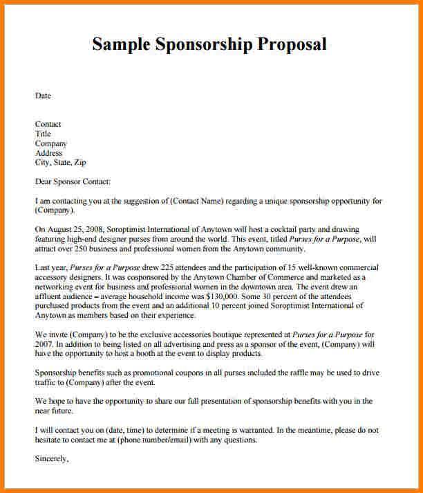 Sponsorship Proposal Template Pccc Us Sponsorship Proposal