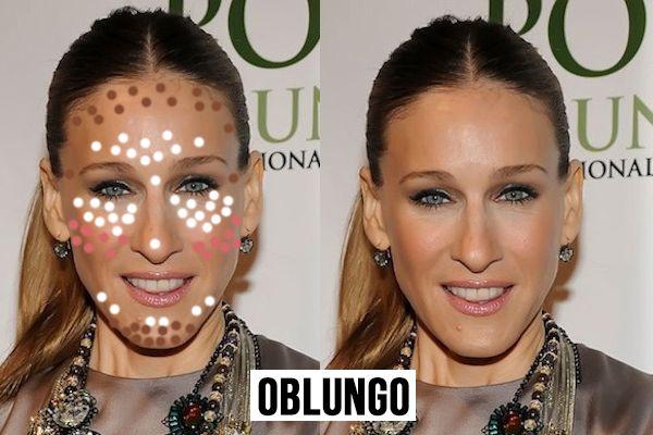 contouring in base alla forma del viso-oblungo