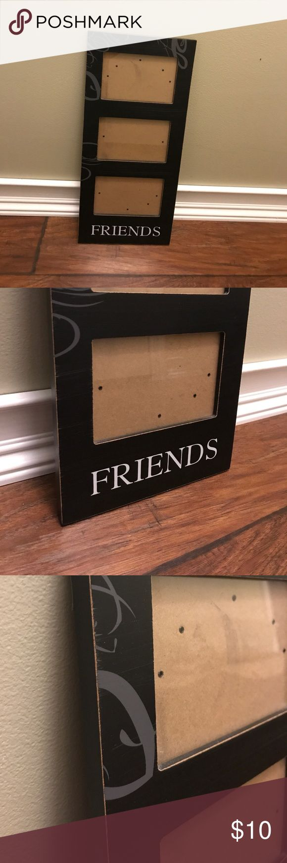 "Hobby Lobby FRIENDS Three Photo Frame Owned for several years. No damage. Holds three 4"" by 6"" photos. Black frame with white lettering and grey swirling detail. Hobby Lobby Other"