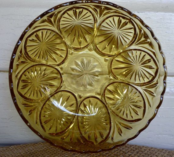 1940s amber glass fruit salad bowl Crown Glass by itsretrodarling