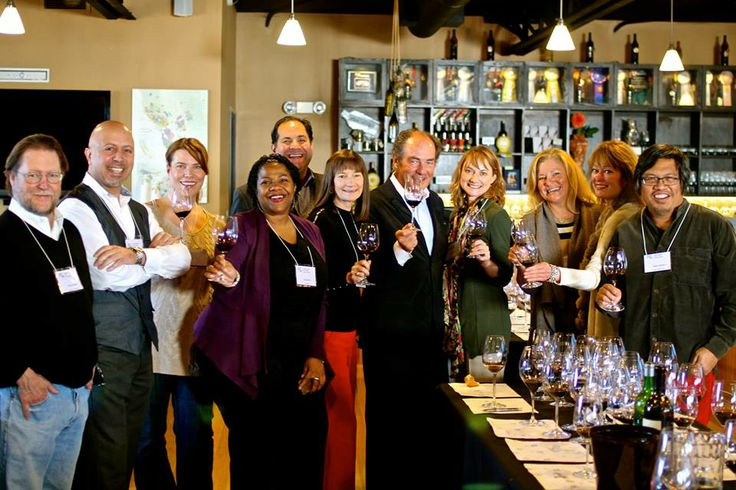Somm/Winemaker Team with Georg Riedel at Zinfandel Glass Workshop at Rockwall Winery in Alameda