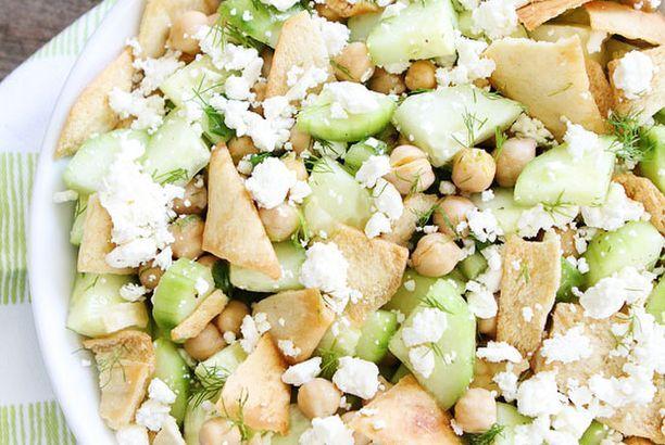 Cucumber, Chickpea, and Pita Salad