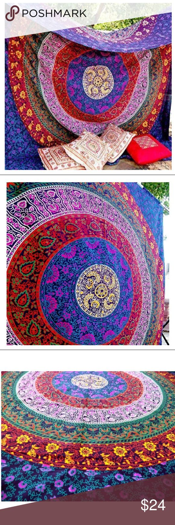 Multicolor Bohemian Wall Mandala Tapestry cription Pure Cotton Size - Twin Size - 140*215cms (55*85 inches.) color - Purple fabric - 100% Cotton. style - Mandala Usage: Bed Cover, Tapestry, Curtain, Wall Hanging Or Table Cloth Other