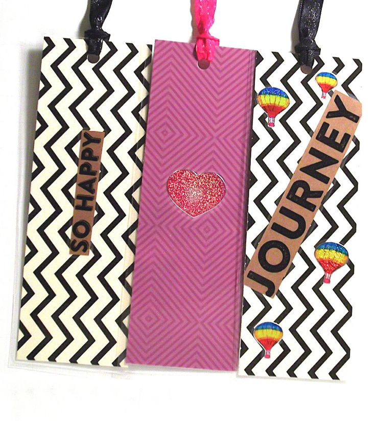 Journey, So Happy and Shimmering Heart Set of 3 Double Sided Bookmarks. Laminated, Ribbon Bookmark Tails, Large!