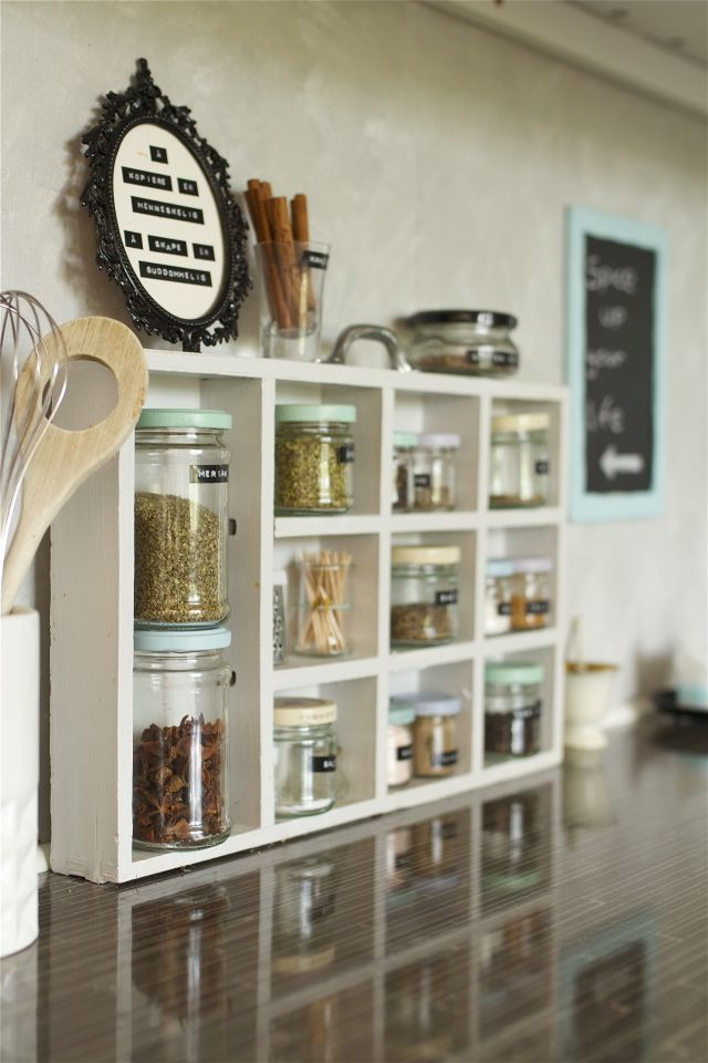 Maybe Mix Soda Crate Spice Rack Idea With This, But Instead Of One Big  Space, Big Space Should Be Divided Into Two For Big Jars Of Salt And  Pepper. Rest ...
