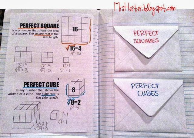 Perfect Squares and Perfect Cubes - with flash cards to study!