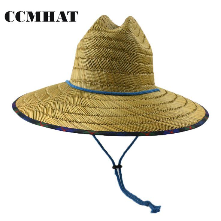>> Click to Buy << CCMHAT 2017 Fashion Women Wide Brim Straw Hat Summer Men Sun Hats Beach Windproof Rope Chapeau Paille Lifeguard Hats For Women #Affiliate