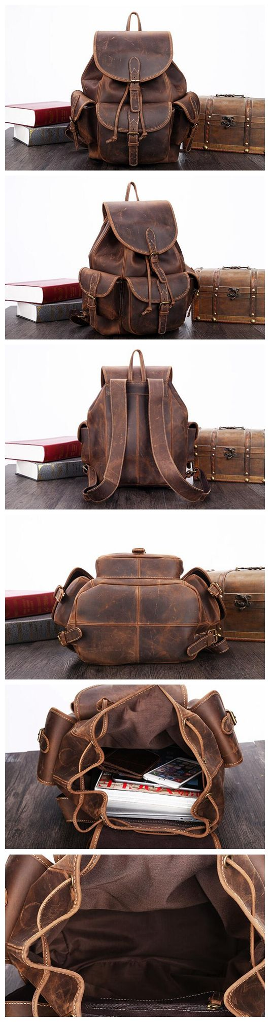 LEATHER CASUAL BACKPACK, LEATHER DESIGN, LEATHER HANDMADE BACKPACK