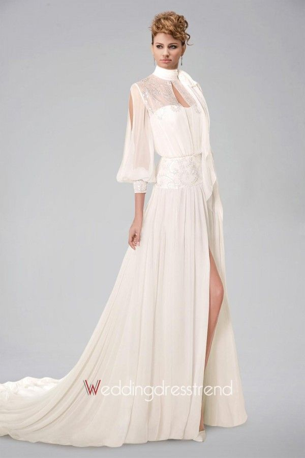 Sublime High Collar Long Sleeve Chiffon Wedding Dress Featuring Appliques and Keyhole Back