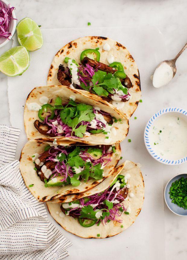 Portobello Tacos w/ Creamy Vegan Jalapeño Sauce / loveandlemons.com