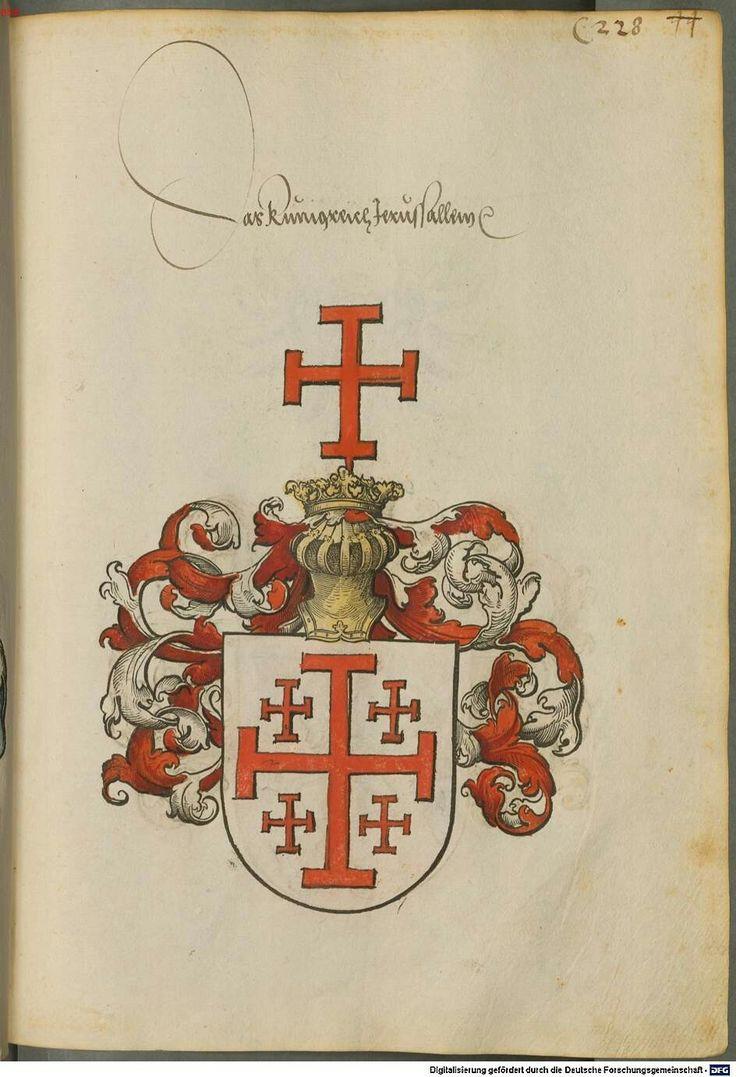 Wappen der Königreich von Jerusalem - mit Jerusalemkreutz / Coat of Arms of The Kingdom of Jerusalem with Jerusalem's Cross / Armas del Reino de Jerusalén con la Cruz de Jerusalén
