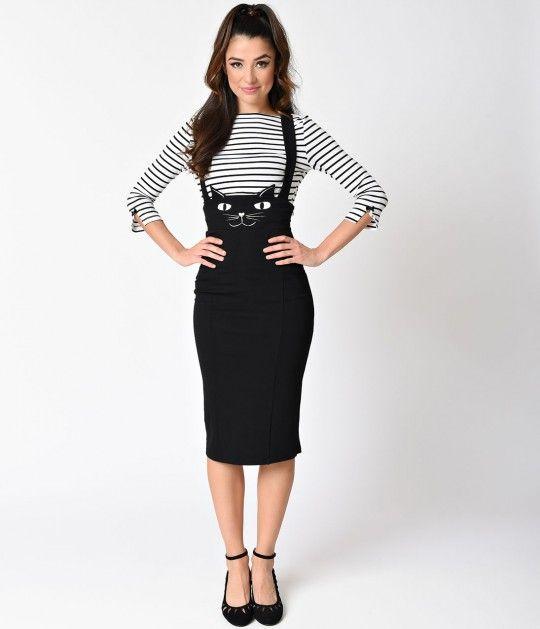 Unique Vintage Retro Style Black Cat Sabrina Suspender Skirt