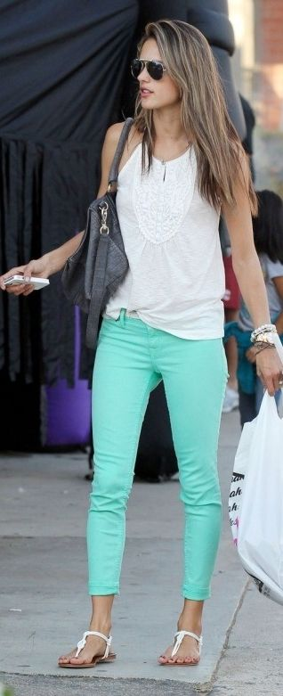 Alessandra Ambrosio celebrity street style in mint green denim and a white halter tank