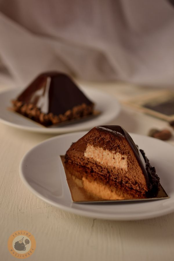 Chocolate & banana mousse dessert on cocoa bean financier