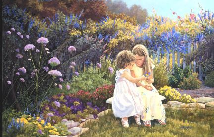 Small Wonders - Fine Artist June Dudley painter of realistic country gardens, poetic landscape paintings, and nostalgic scenes