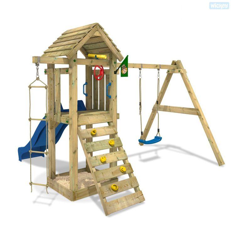 Speeltoestel Tarzan´s Hut met schommel en glijbaan, in onze shop vindt u een groot assortiment houten speeltoestellen voor kinderen