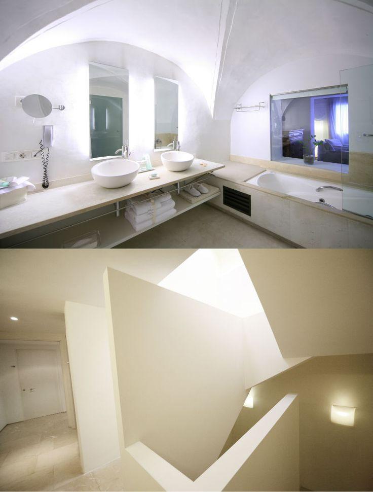 Convent de la Missió | Boutique Hotel | Palma de Mallorca | Spain | http://lifestylehotels.net/en/convent-de-la-missio | bathroom, double, white, minimalistic, luxury, relax, curved ceilings, modern, architecture