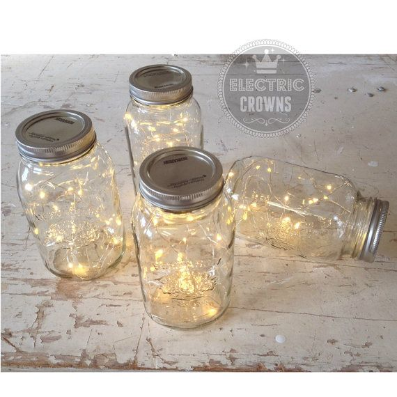 **Mason jars NOT included*** Rustic wedding decor! ❤️FAVOURITE our SHOP to receive a FREE FAIRY LIGHT! *with purchase of 15 or more* HEART US NOW--> https://www.etsy.com/shop/ElectricCrowns  DIY! Do it yourself project. Save money on centrepieces. Add these battery fairy lights to your mason jars! Pretty lights that fit perfectly inside a mason jar. Everyone loves firefly lights. Battery pack hides away completely too! These Led lights come with batteries and are ready to use immediately…