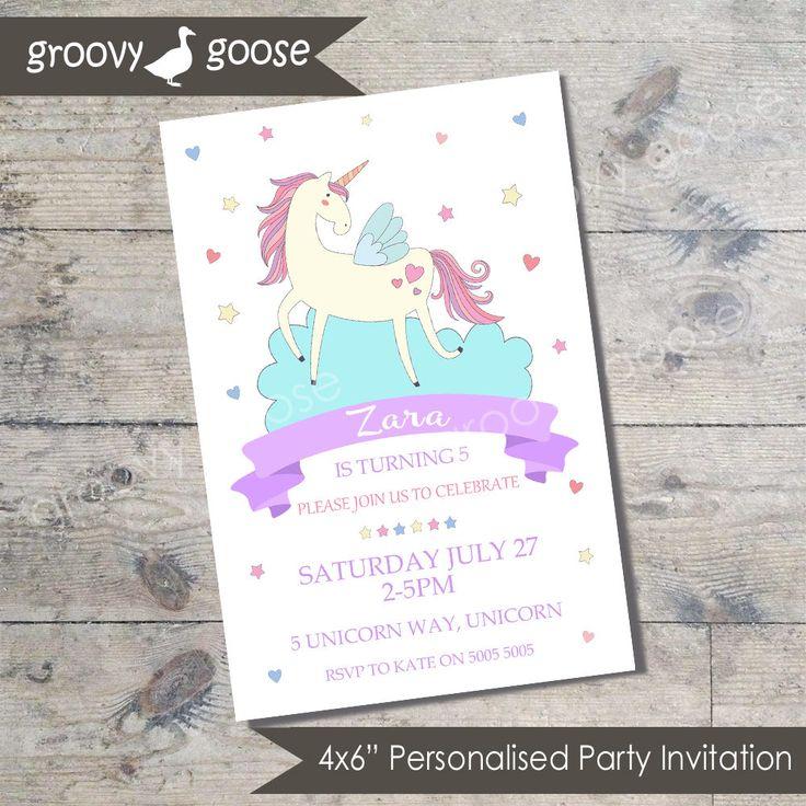 UNICORN kids party invitation DIY Printable Unicorn Theme Party by groovygoose on Etsy