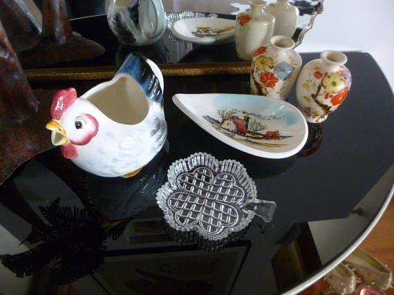 Five Piece Vintage Collection   Ceramic Chicken Jug Retro