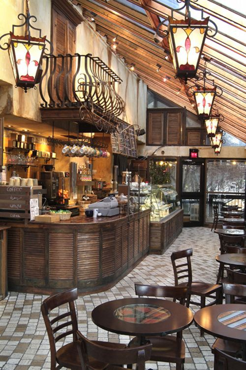 This is the type of coffee shop I picture for when James, Hugo, and Miss Motherhenny are talking to each other. It reminds me of a small town coffee shop where most of the patrons know each other and feel comfortable around each other.