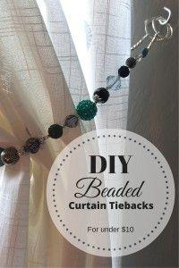 Tutorial - DIY Beaded curtain tiebacks for less than $10 - so many options - I LOVE THIS! #diy #beads #homedecor