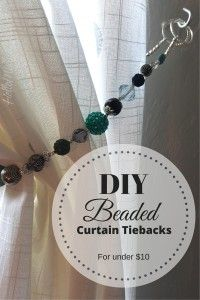 Tutorial - DIY Beaded curtain tiebacks for less than $10 - so many options - I LOVE THIS! #diy #beads #homedecor