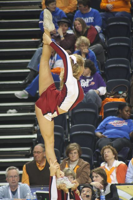 SEC Arkansas cheerleading, cheerleader #cheer stunt scorpion basketball game from Kythoni's Cheerleading: Collegiate board http://pinterest.com/kythoni/cheerleading-collegiate/    m.7.1 #KyFun