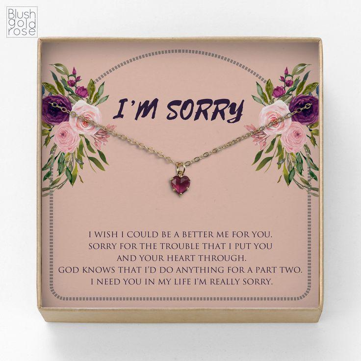 Apology gift tiny fuchsia heart necklace apology gift