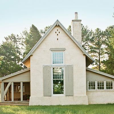 Rural Cottage with Character | Architect Ken Pursley looked to early American churches, barns, and the surrounding rural landscape when designing this timeless retreat on Maryland's Upper Eastern Shore. | SouthernLiving.comColors Combos, Character Painting, Rural Cottages, Colors Schemes, Paint Colors, Curb Appeal, Painting Colors, Ken Pursley, Farm Houses