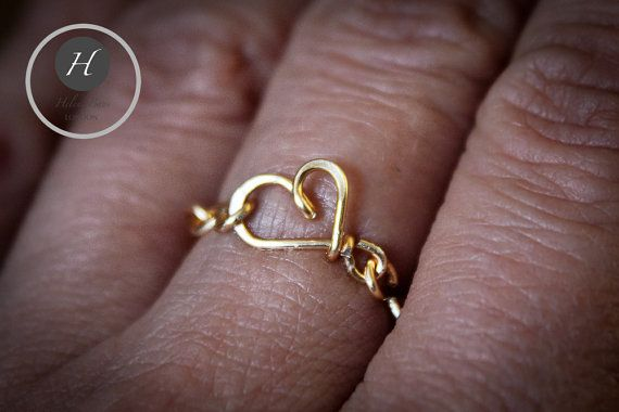 Heart Chain Ring hammered ringromantic by HelenaBausJewellery